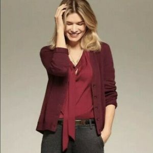 Cabi burgundy v-neck cardigan